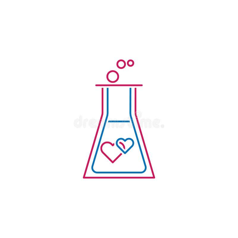 Walentynka dzień, chemia, miłość, serce ikona Może używać dla sieci, logo, mobilny app, UI, UX ilustracja wektor