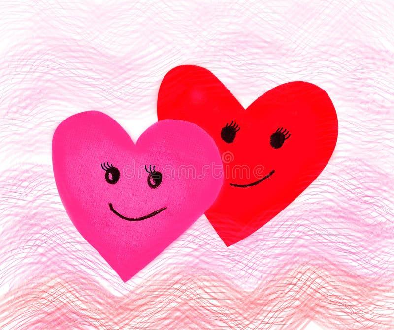 Walentynka dzień, czerwieni menchii papieru fala serce i uśmiech, miłości fillin fotografia stock