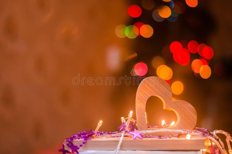 Walentynka dzień, czerwony drewniany serce fotografia stock