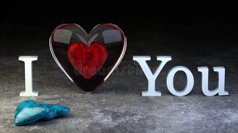 Walentynka dzień 3d ilustration - czerwony serce wśrodku szklanego serca - royalty ilustracja