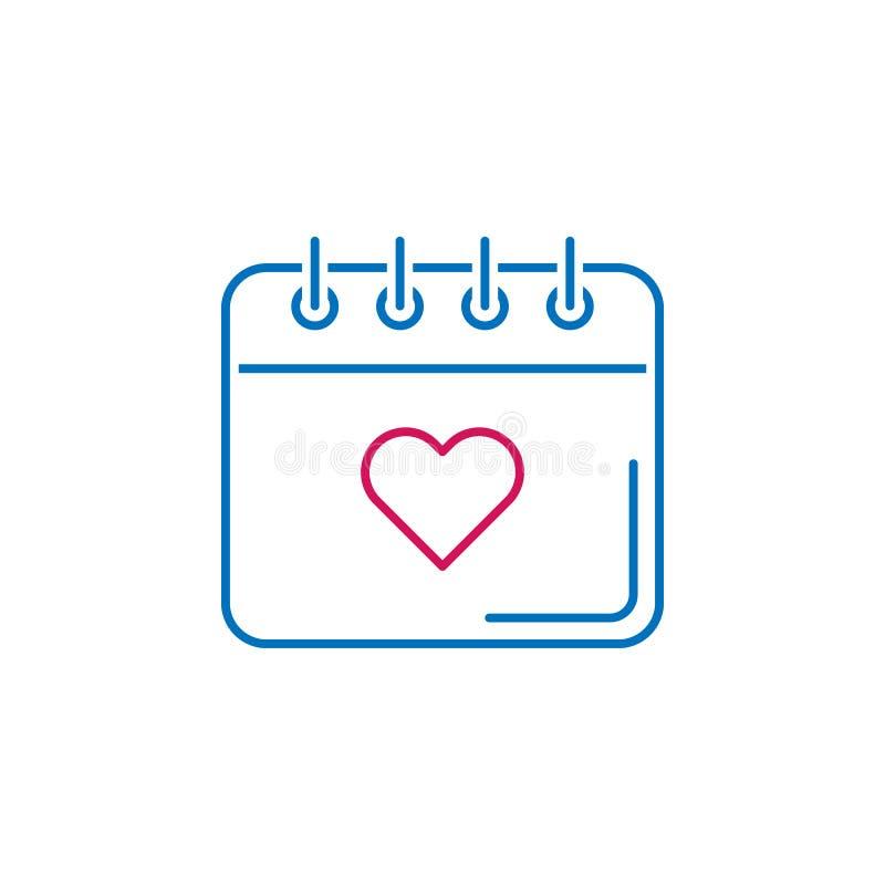 Walentynka dzień, kalendarz, kierowa ikona Może używać dla sieci, logo, mobilny app, UI, UX ilustracja wektor