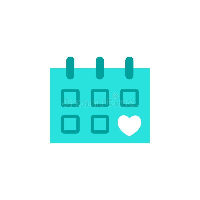 Walentynka dzień, kalendarzowa ikona Element sieci walentynki ikona dla mobilnych pojęcia i sieci apps Szczegółowy walentynka dzi ilustracji