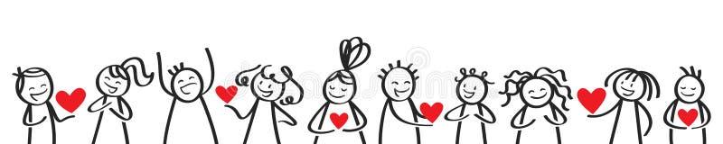 Walentynka dzień, kij oblicza dawać sercom do siebie ilustracja wektor