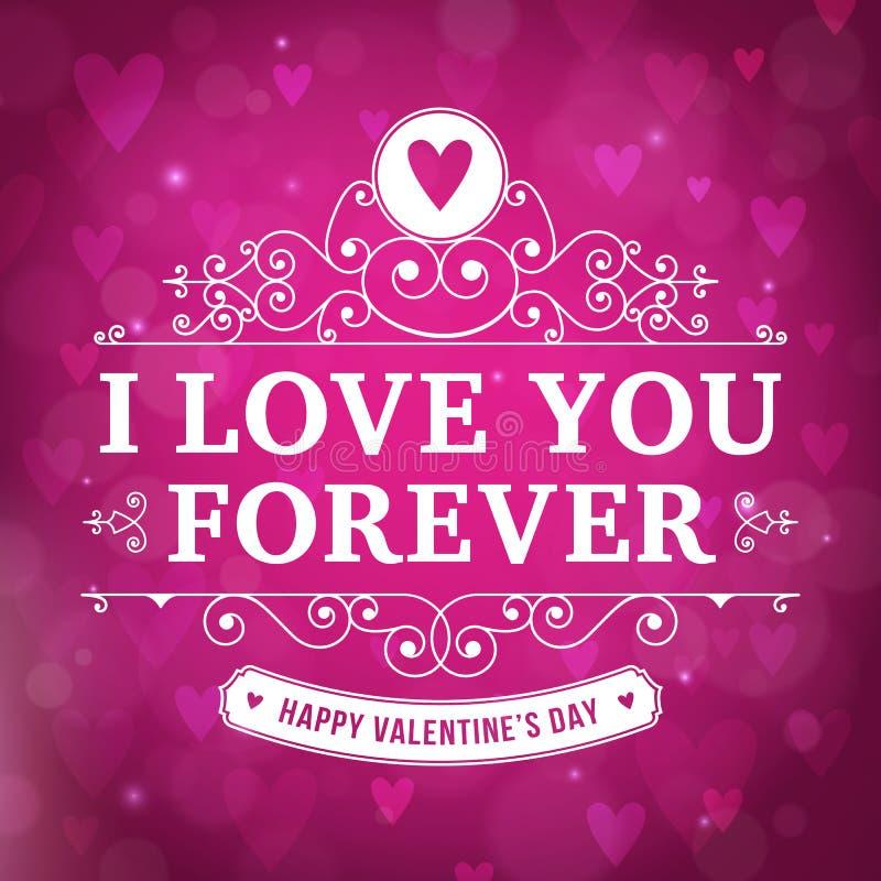 Walentynka dzień kocham CIEBIE typografii kartka z pozdrowieniami ilustracja wektor