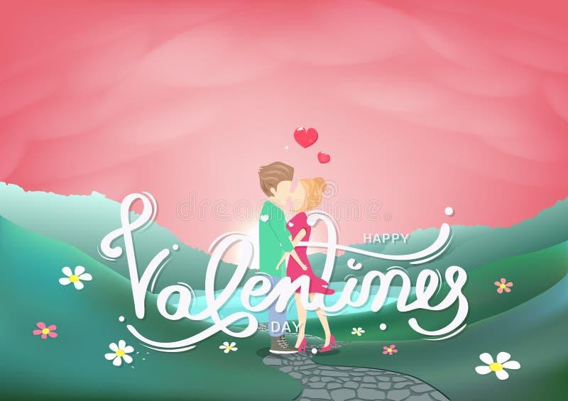 Walentynka dzień, kochanek, kaligrafii dekoracja i ludzie charakter kreatywnie kartki z pozdrowieniami, różowy pastelowy sezonowy royalty ilustracja