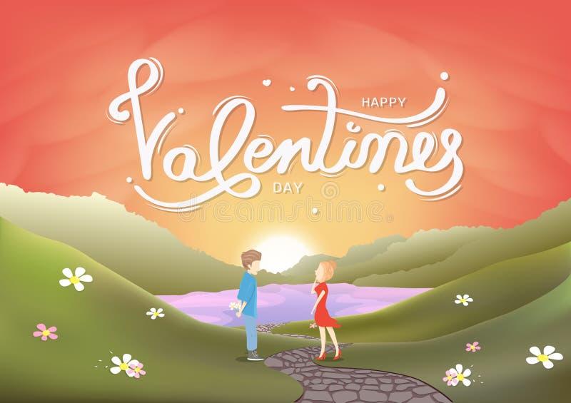 Walentynka dzień, kochanków charaktery, kaligrafii kartka z pozdrowieniami, krajobrazowa scena, zmierzch w sezonowym wakacyjnym a royalty ilustracja