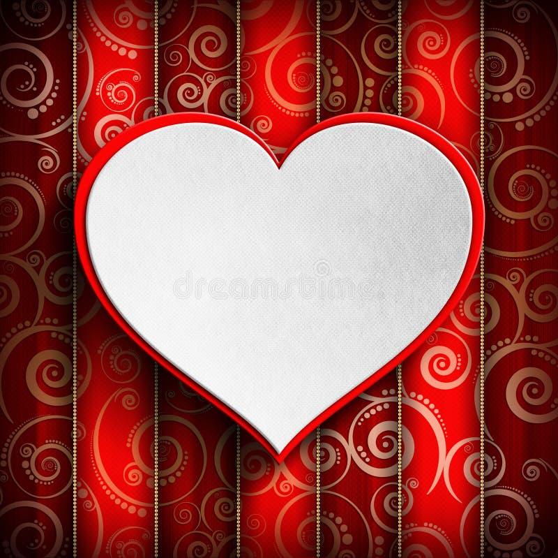 Walentynka dzień - serce na wzorzystym tle ilustracja wektor