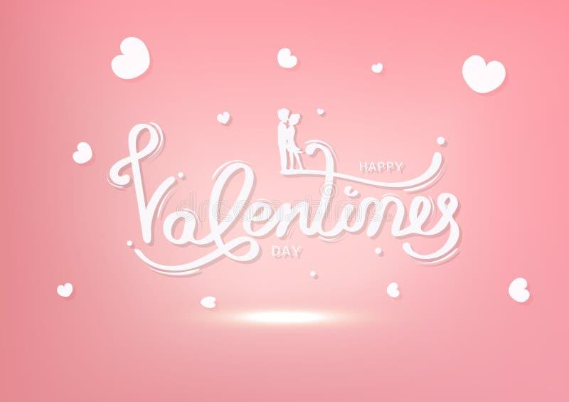 Walentynka dzień, szczęście kochanek, kartka z pozdrowieniami, pastelowy wakacje, kaligrafii dekoracji sylwetki ludzi, białego i  ilustracji