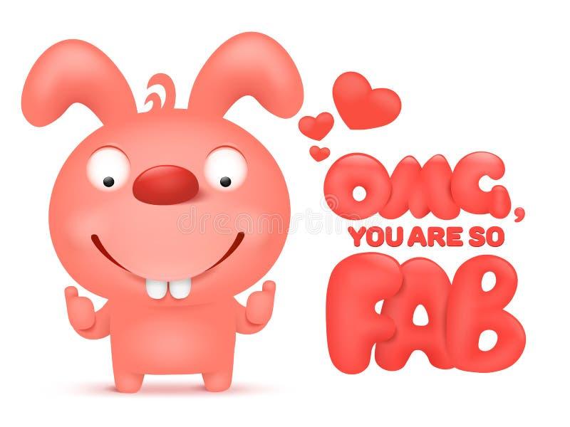 Walentynka karciany szablon z różowym kreskówka królika charakterem ilustracja wektor