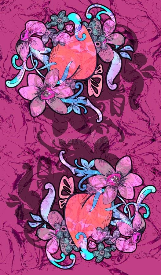 Walentynka karciany wystrój. Serce z kwiatami. ilustracja wektor