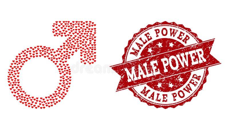 Walentynka Kierowy skład Męska symbol ikona i Grunge Watermark royalty ilustracja