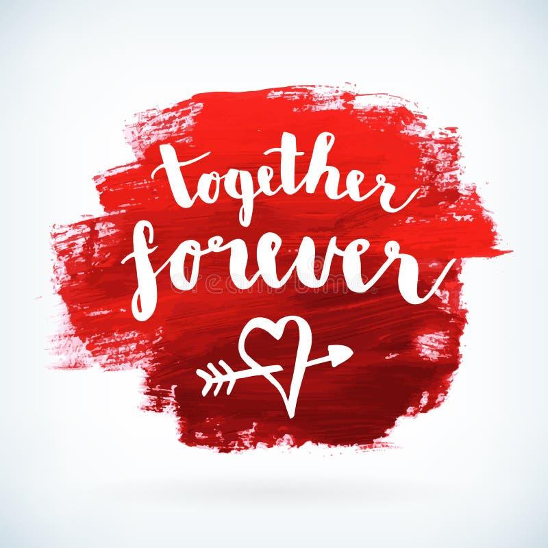 Walentynka lub ślub czerwona ręka malowaliśmy rysunkowego plakat ilustracja wektor