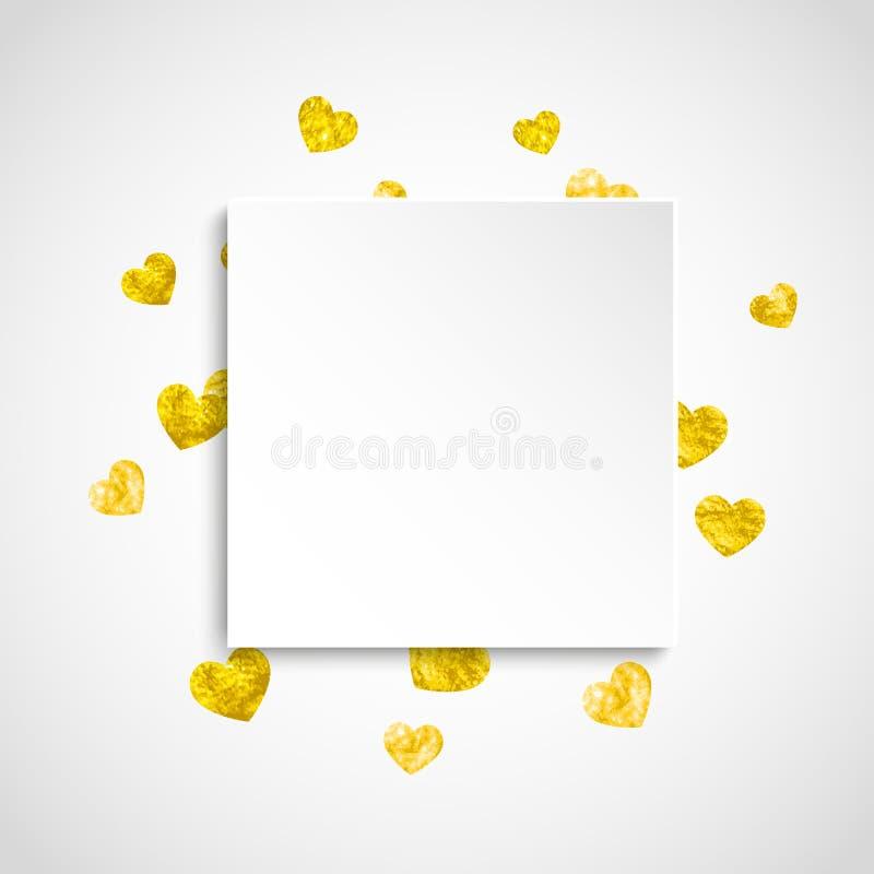 Walentynka papieru rama z złocistymi błyskotliwość sercami Luty 14th dzień Wektorowi confetti dla valentine papieru ramy ilustracja wektor