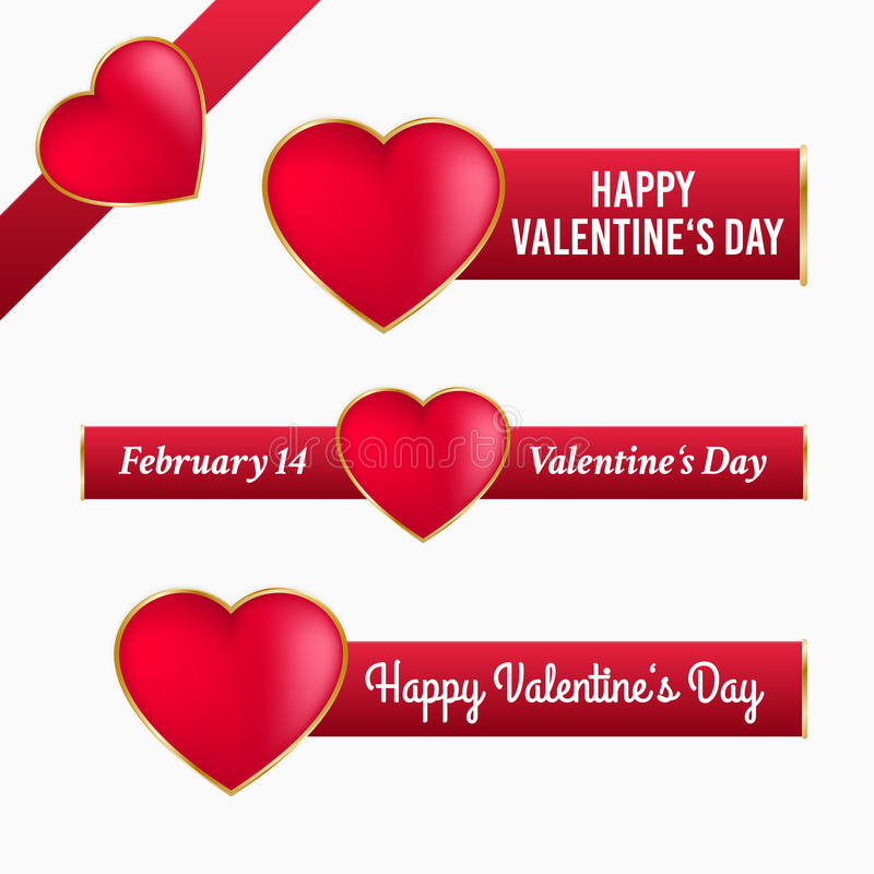 Walentynka sztandary z sercem ilustracja wektor