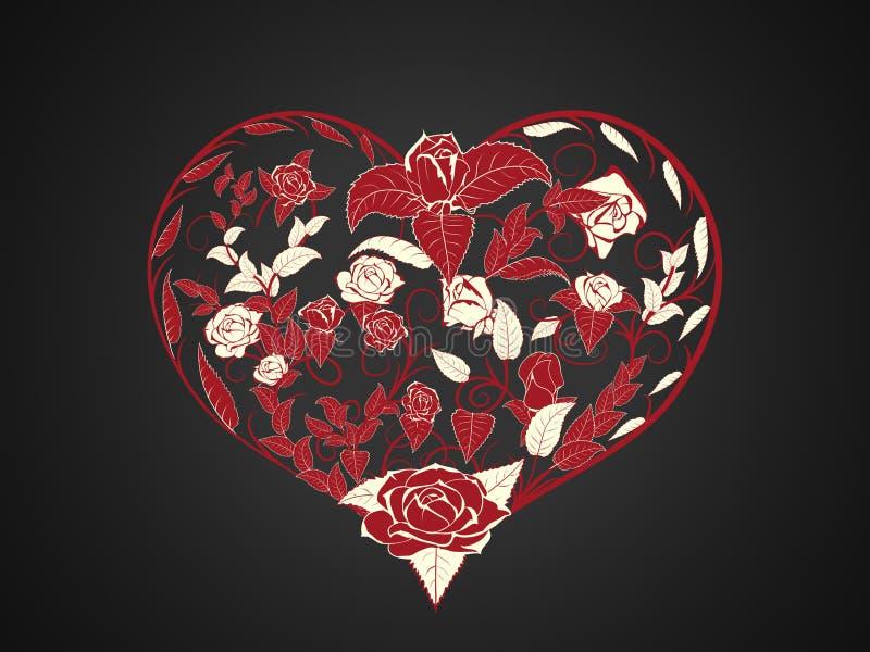 Walentynka w postaci rozgałęziać się czerwone gałąź i przekręcać ilustracji