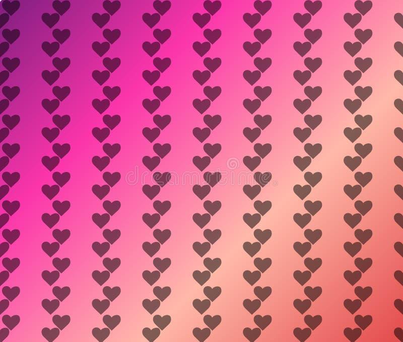 Walentynka wzór z Prostymi sercami na różowym fiołkowym czerwonego korala tle wektor ilustracji