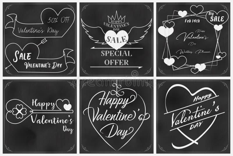 Walentynki chalkboard sztuka z szóstych elementami ilustracja wektor