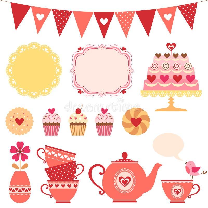 Walentynki herbaciany przyjęcie ilustracja wektor
