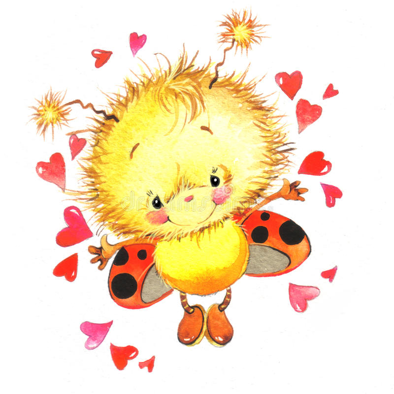 Walentynki i śliczna biedronka, czerwony serce ilustracja wektor