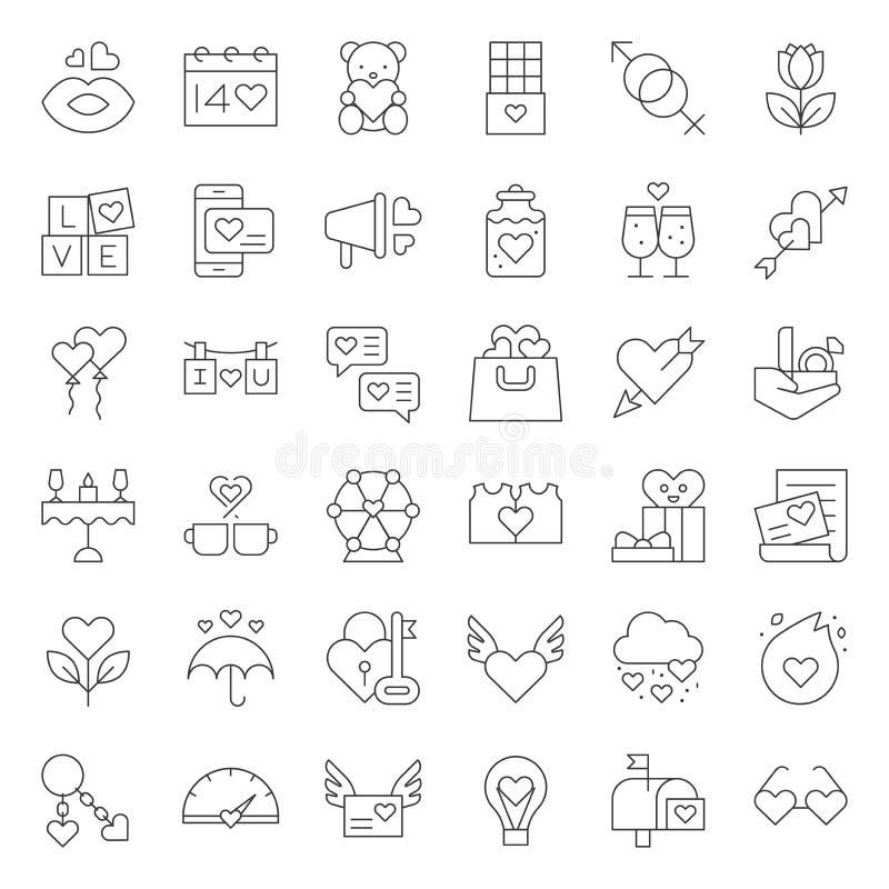 Walentynki i romansu elementy kreskowa ikona tak jak ferris koło, strzała i serce, gość restauracji, całuje usta, chemia miłość,  ilustracja wektor