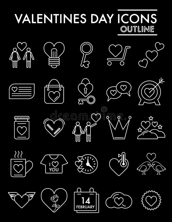 Walentynki ikony kreskowy set, romansowi symbole kolekcja, wektor kre?li, logo ilustracje, mi?o?? znaki liniowi ilustracji