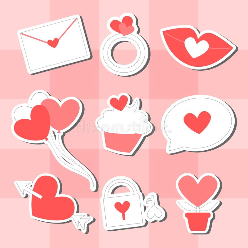 Walentynki ikony set fotografia royalty free