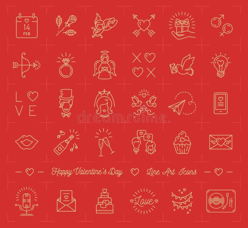 Walentynki ikony set, miłość symbole, płaskiej projekt linii cienki styl royalty ilustracja
