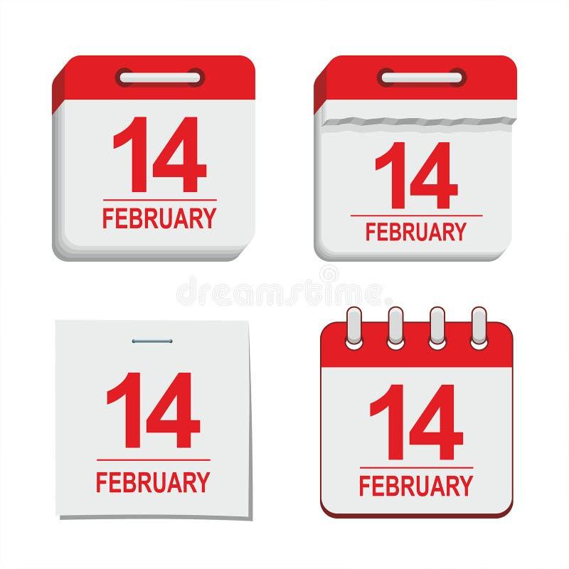 Walentynki kalendarzowa ikona royalty ilustracja