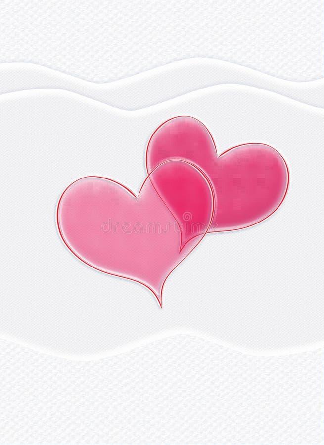 Walentynki karta, czerwoni serca, biały tło, pionowy ilustracji