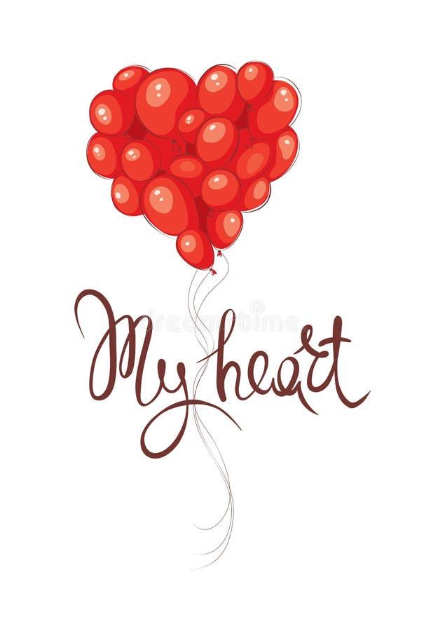 Walentynki karta -- Mój serce royalty ilustracja