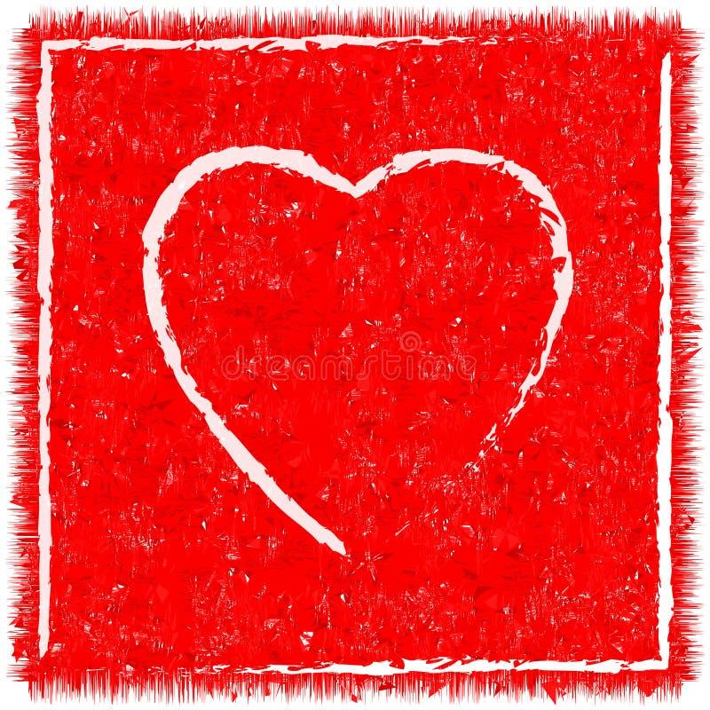 Walentynki karta w starym stylu, grunge serca tekstura ilustracja wektor