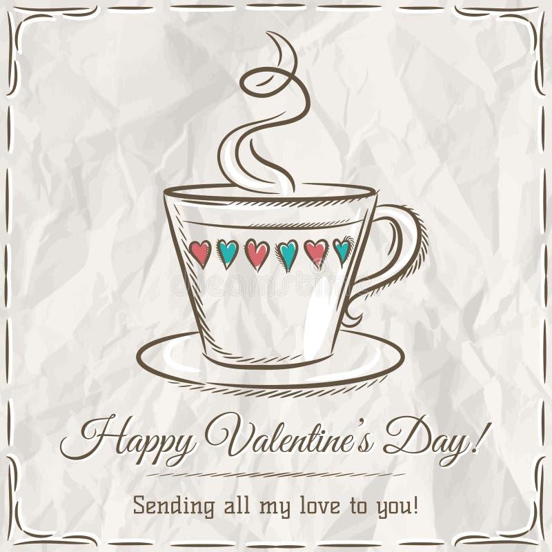 Walentynki karta z filiżanką gorący napój i życzenie tekst royalty ilustracja