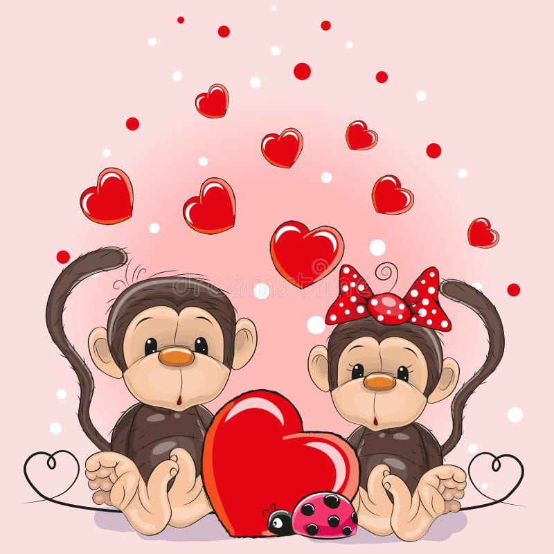Walentynki karta z kochanek małpami royalty ilustracja