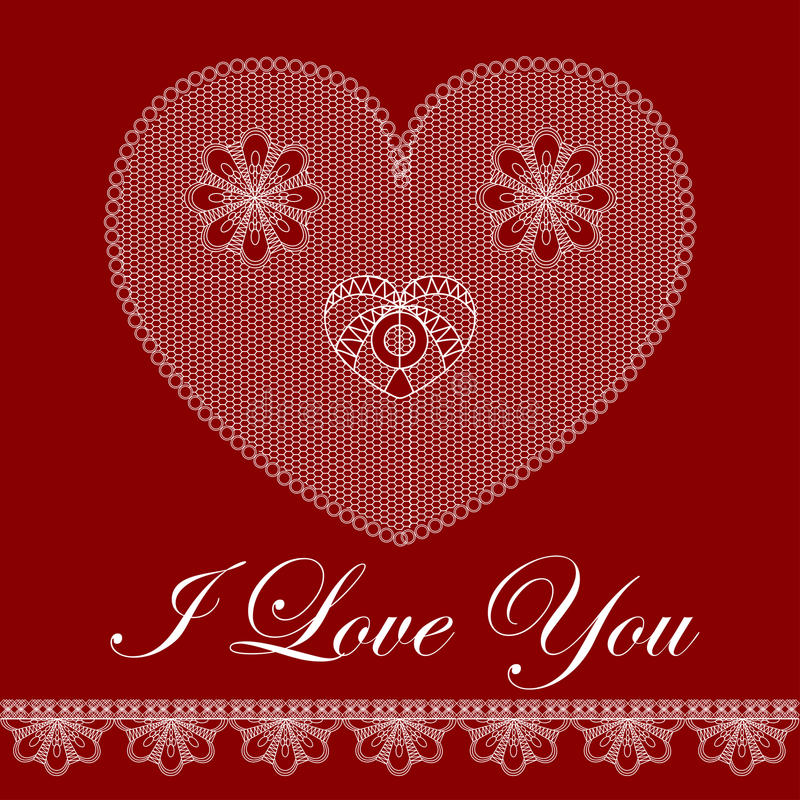 Download Walentynki Karta Z Koronkowym Sercem Ilustracja Wektor - Ilustracja złożonej z granica, piękny: 28950791