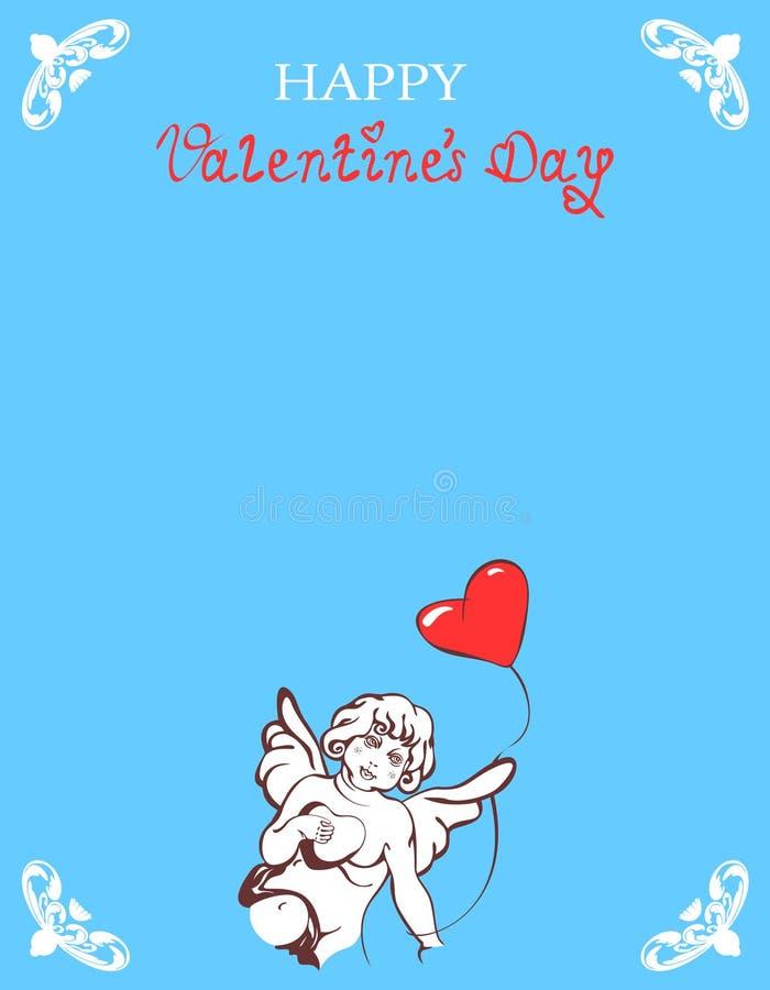 Walentynki karta z Kupidon obrazy stock