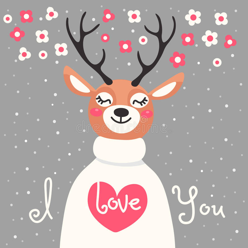 Walentynki karta z rogaczem i deklaracja miłość ilustracji