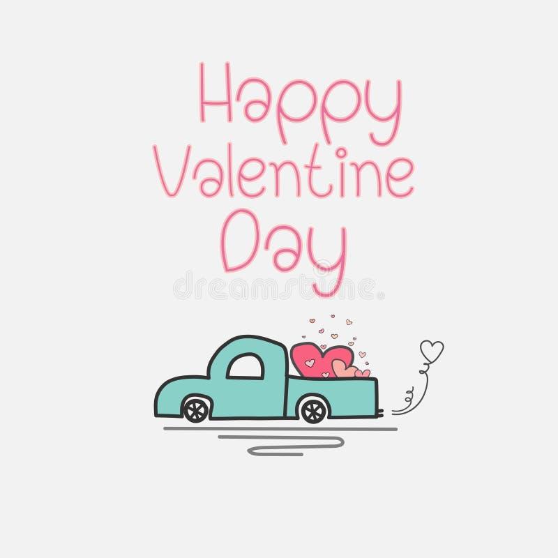 Walentynki karta Z serce miłością I ciężarówką royalty ilustracja