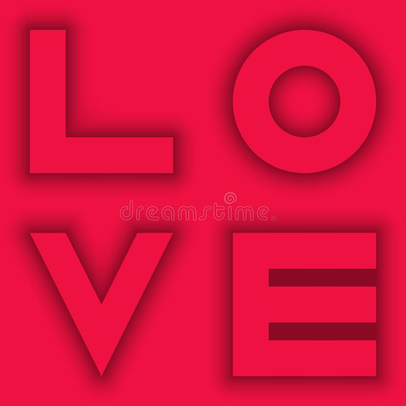 Walentynki kartki z pozdrowieniami tło z słowo miłością na różowym tle Pojęcie dla ślubnej zaproszenie pokrywy w papierowym mater royalty ilustracja