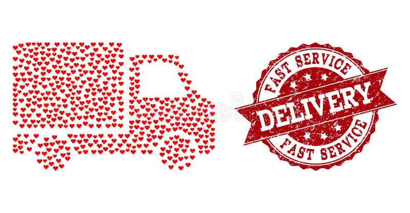 Walentynki Kierowa mozaika Doręczeniowego samochodu ikona i Grunge Watermark ilustracji