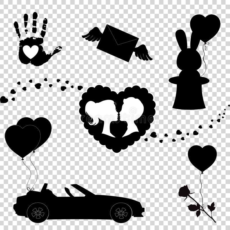 Walentynki lub ślubu inkasowi elementy dla kartki z pozdrowieniami ilustracja wektor