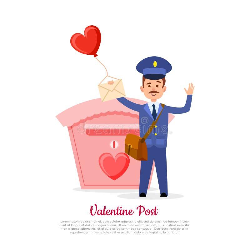 Walentynki Mailman z serce balonem i poczta ilustracja wektor