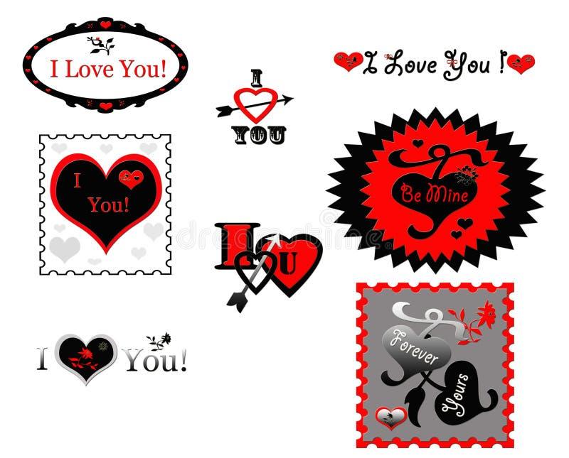 Walentynki miłość Stempluje majcher ikony royalty ilustracja