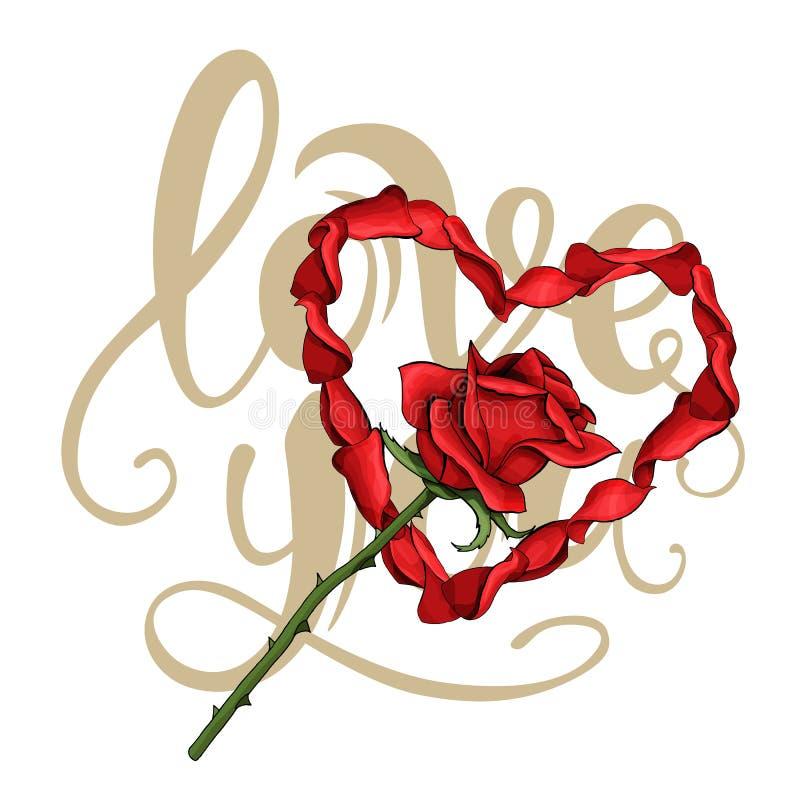 Walentynki miłości szablonu płatków pocztówkowy serce, czerwieni róży kwiat na literowaniu ilustracji