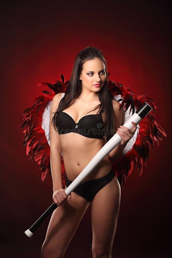 Walentynki piękna dziewczyna z dużym bielem i czerwienią uskrzydla fotografia stock