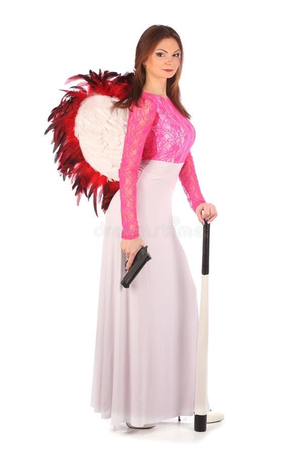 Walentynki piękna dziewczyna z wiatrami fotografia stock