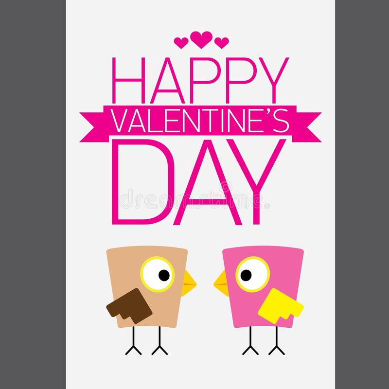 Walentynki piękna karta z para ptakami ilustracji