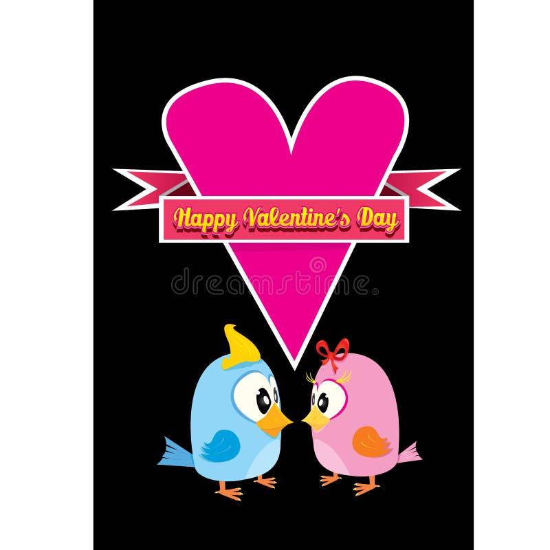 Walentynki piękna karta z para ptakami ilustracja wektor