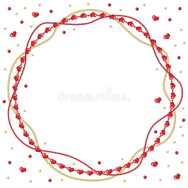 Walentynki powitania round rama złociści i czerwoni koraliki ilustracji