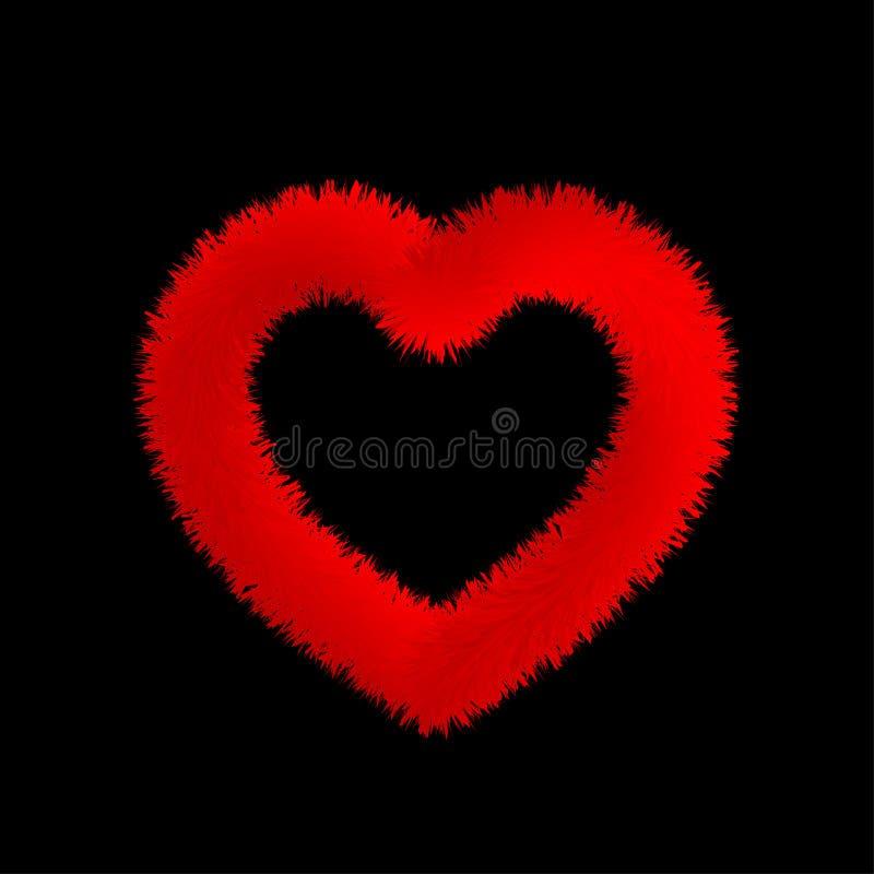 Walentynki puszysty futerkowy czerwony serce ilustracji