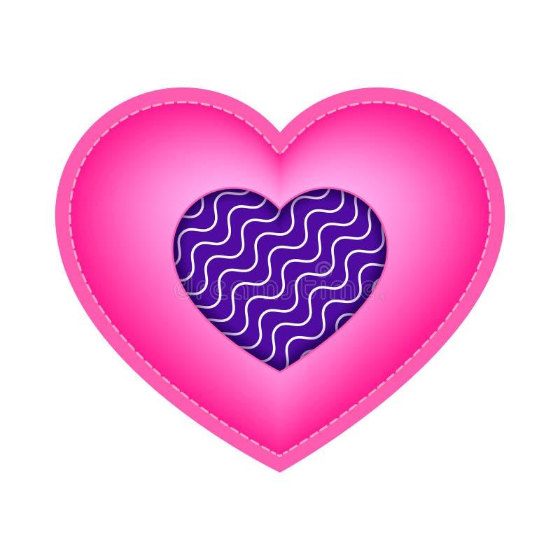 Walentynki różowy serce z wszywką falisty wzór w centrum obraz stock